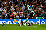 Vinicius Junior of Real Madrid and Sidnei Rechel da Silva of Real Betis Balompie during La Liga match between Real Madrid and Real Betis Balompie at Santiago Bernabeu Stadium in Madrid, Spain. November 02, 2019. (ALTERPHOTOS/A. Perez Meca)