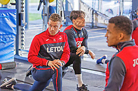 (L-R) Eddie Lattimore with Roque Mesa and Matrin Olsson exercise in the gym during the Swansea City Training at The Fairwood Training Ground, Swansea, Wales, UK. Thursday 11 January 2018
