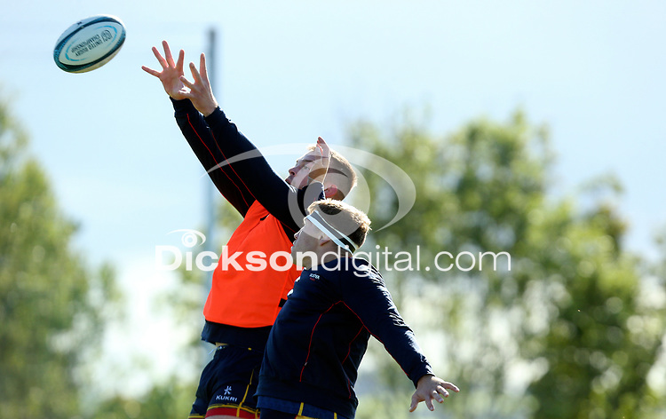 Tuesday 5th October 2021<br /> <br /> David O'Connor and Matty Rea during Ulster Rugby training at Newforge Country Club, Belfast, Northern Ireland. Photo by John Dickson/Dicksondigital