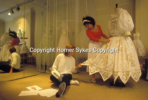Elizabeth and David Emanuel fashion designers 1981. The Emanuel Shop, Beauchamp Place  London UK