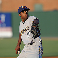 RHP Jairo Heredia (18) of the Charleston RiverDogs, Class A affiliate of the New York Yankees, in a game against the Greenville Drive on May 27, 2010, at Fluor Field at the West End in Greenville, S.C. Photo by: Tom Priddy/Four Seam Images
