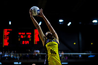 Aliyah Dunn takes a pass during the ANZ Premiership netball match between Central Pulse and Northern Mystics at TSB Bank Arena in Wellington, New Zealand on Monday, 10 May 2021. Photo: Dave Lintott / lintottphoto.co.nz