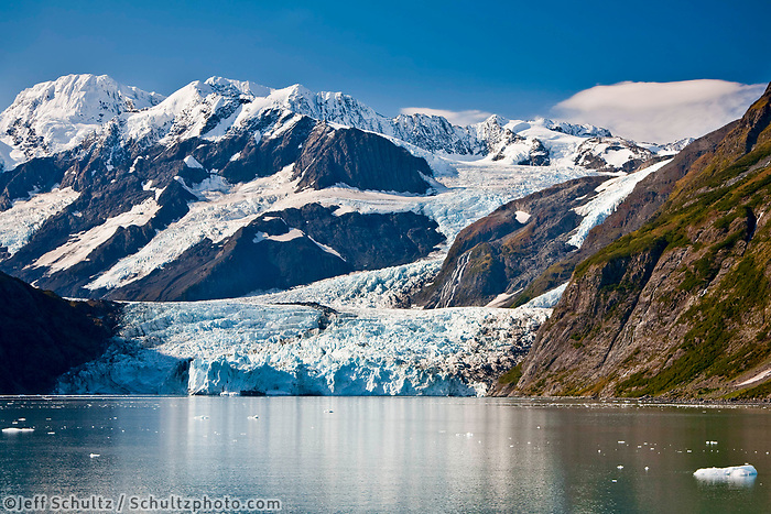 """""""Scenic View Of Stairway Glacier (R) Flowing Into Surprise Glacier From Chugach Mountains And Then Into Surprise Inlet In Harriman Fjord. Prince William Sound, Southcentral, Alaska"""""""