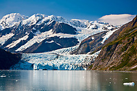 """Scenic View Of Stairway Glacier (R) Flowing Into Surprise Glacier From Chugach Mountains And Then Into Surprise Inlet In Harriman Fjord. Prince William Sound, Southcentral, Alaska"""