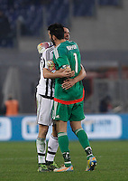 Calcio, Serie A: Lazio vs Juventus. Roma, stadio Olimpico, 4 dicembre 2015.<br /> Juventus' Leonardo Bonucci, left, and Gianluigi Buffon celebrate at the end of the Italian Serie A football match between Lazio and Juventus at Rome's Olympic stadium, 4 December 2015. Juventus won 2-0.<br /> UPDATE IMAGES PRESS/Isabella Bonotto