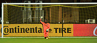 WASHINGTON, DC - SEPTEMBER 27: Bill Hamid #24 of  D.C. United kneeling during a game between New England Revolution and D.C. United at Audi Field on September 27, 2020 in Washington, DC.