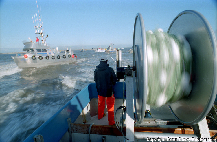 """Bristol Bay, June 1994, The F/V Karly, Egegik River, Alaska. Bristol Bay is home to the world's largest sockeye salmon fishery. The commercial salmon drift gillnet fishing fleet is limited to boats no longer than 32 feet in length. There were over 1,800 permanent entry permits listed in 2002 which each vessel is required to have. Typically boats fish with two or three deckhands. Peak of the season is around July 4th in this fishery which lasts about a month. The rivers also get a fair amount of chum, king, and chinook salmon. Bristol Bay is located in the southwest part of Alaska. This fishery is managed by """"the Alaska Department of Fish and Game"""" and is a sustainable fishery. Until around the year 2000, fishing on the Egegik North Line was lively and lucrative.."""