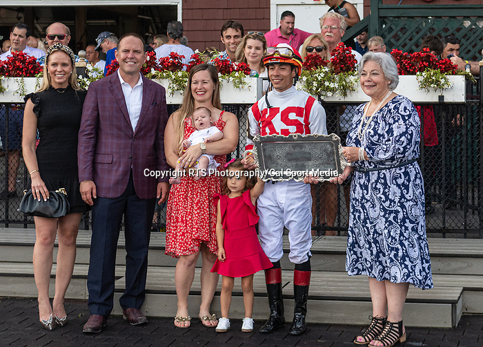 August 21, 2021: The connections of Technical Analysis (IRE) celebrate after winning the Grade 2 Lake Placid Stakes on the turf at Saratoga Race Course in Saratoga Springs, N.Y. on August 21st, 2021. Rob Simmons/Eclipse Sportswire/CSM
