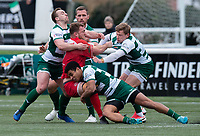 Max Argyle of Jersey Reds is tackled by Reon Joseph of Ealing Trailfinders during the Championship Cup Quarter final match between Ealing Trailfinders and Jersey Reds at Castle Bar , West Ealing , England  on 22 February 2020. Photo by Alan  Stanford / PRiME Media Images.