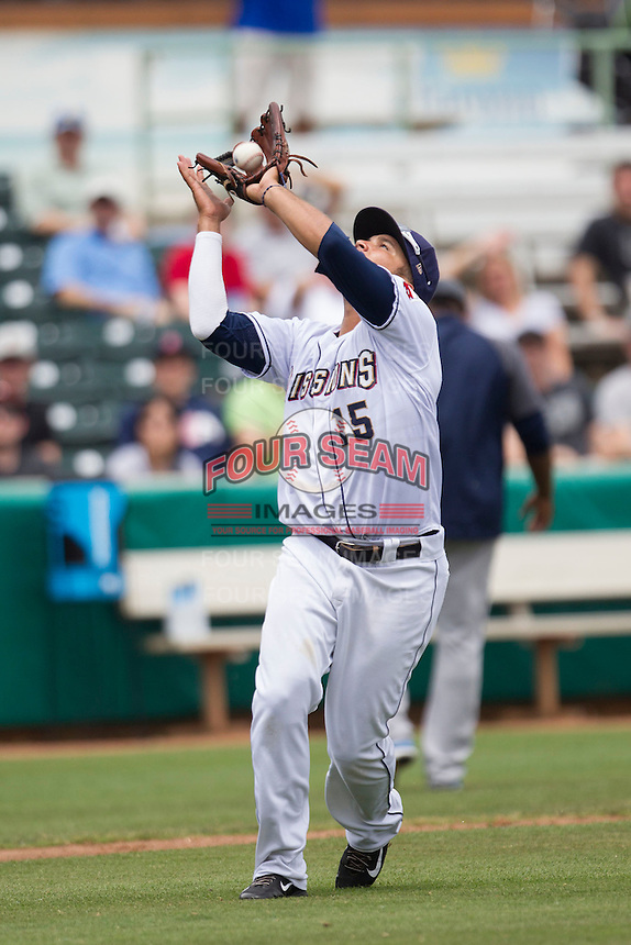 San Antonio Missions third baseman Diego Goris (15) catches a pop up during the Texas League baseball game against the Corpus Christi Hooks on May 10, 2015 at Nelson Wolff Stadium in San Antonio, Texas. The Missions defeated the Hooks 6-5. (Andrew Woolley/Four Seam Images)