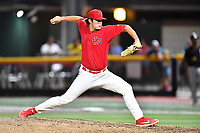 Johnson City Cardinals pitcher John Witkowski (43) delivers a pitch during game two of the Appalachian League, West Division Playoffs against the Bristol Pirates at TVA Credit Union Ballpark on August 31, 2019 in Johnson City, Tennessee. The Cardinals defeated the Pirates 7-4 to even the series at 1-1. (Tony Farlow/Four Seam Images)