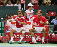 Switserland, Genève, September 19, 2015, Tennis,   Davis Cup, Switserland-Netherlands, Doubles: Swiss team Marco Chiudinelli/Roger Federer (R)<br /> Photo: Tennisimages/Henk Koster