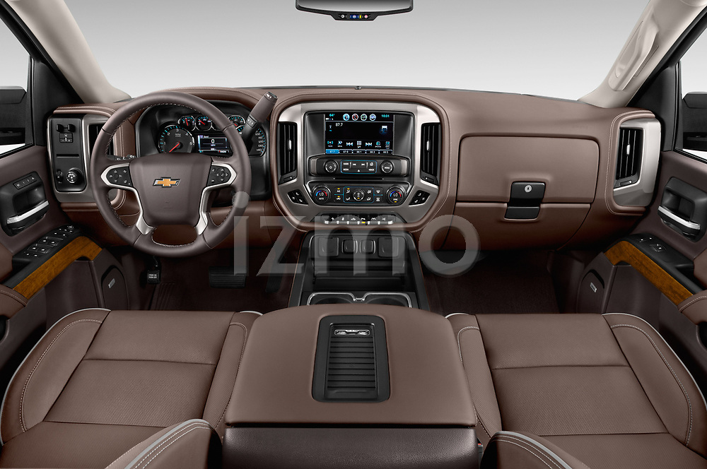 Stock photo of straight dashboard view of 2018 Chevrolet Silverado-1500 High-Country-Crew 4 Door Pickup Dashboard