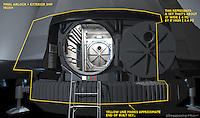 A different view of the exterior with Airlock Door open. The yellow outline shows the suggested extent of the real built set.