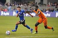 SAN JOSE, CA - JULY 24: Cade Cowell #44 of the San Jose Earthquakes is marked by Derrick Jones #21 of the Houston Dynamo during a game between Houston Dynamo and San Jose Earthquakes at PayPal Park on July 24, 2021 in San Jose, California.
