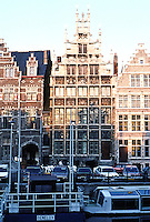 Ghent: Buildings adjoining Granary on Graslei . In center: Guild of Masons House, 1526.  Photo '87.