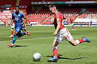 Alfie Doughty of Charlton crosses the ball into the Wigan penalty area during Charlton Athletic vs Wigan Athletic, Sky Bet EFL Championship Football at The Valley on 18th July 2020
