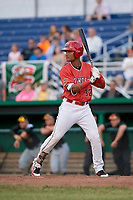 Batavia Muckdogs center fielder Ricardo Cespedes (32) at bat during a game against the West Virginia Black Bears on June 19, 2018 at Dwyer Stadium in Batavia, New York.  West Virginia defeated Batavia 7-6.  (Mike Janes/Four Seam Images)