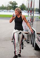 Aug 31, 2019; Clermont, IN, USA; NHRA factory stock driver Leah Pritchett during qualifying for the US Nationals at Lucas Oil Raceway. Mandatory Credit: Mark J. Rebilas-USA TODAY Sports