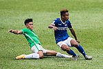 Chun Lok Tan of Wofoo Tai Po (L) in action against Lok Wong of Rangers (R) during the week three Premier League match between BC Rangers and Wofoo Tai Po at Sham Shui Po Sports Ground on September 17, 2017 in Hong Kong, China. Photo by Marcio Rodrigo Machado / Power Sport Images