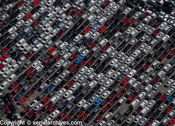 aerial photograph parked rental cars San Mateo county near SFO California