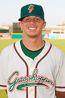 Rob Rasmussen #27 of the Greensboro Grasshoppers at NewBridge Bank Park July 30, 2010, in Greensboro, North Carolina.  Photo by Brian Westerholt / Four Seam Images