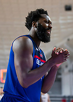 22nd February 2021, Podgorica, Montenegro; Eurobasket International Basketball qualification for the 2022 European Championships, England versus France;  Ovie Soko of Great Britain appaluds his team mates