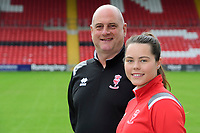 Lincoln City Women's manager Richard Cooper, left, and Lincoln City Women's captain Chloe Brock-Taylor during a press conference at Sincil Bank Stadium<br /> <br /> Photographer Chris Vaughan/CameraSport<br /> <br /> Lincoln City Women - Press conference - Tuesday 18th June 2019 - Sincil Bank - Lincoln<br /> <br /> World Copyright © 2019 CameraSport. All rights reserved. 43 Linden Ave. Countesthorpe. Leicester. England. LE8 5PG - Tel: +44 (0) 116 277 4147 - admin@camerasport.com - www.camerasport.com