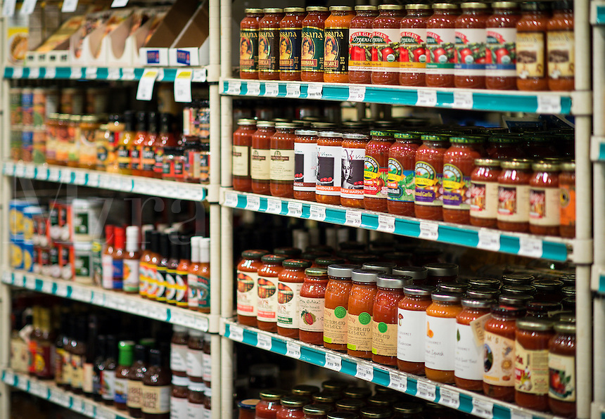 Specialty food store shelf.