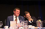 St Johnstone FC Hall of Fame Dinner, Perth Concert Hall….03.04.16<br />Manager Tommy Wright and Chairman Steve Brown reacts as Roddy Grant's wife Susan wins the Heads and tails competition<br />Picture by Graeme Hart.<br />Copyright Perthshire Picture Agency<br />Tel: 01738 623350  Mobile: 07990 594431