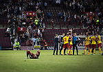 Heart of Midlothian 1 Birkirkara 2, 21/07/2016. Tynecastle Park, UEFA Europa League 2nd qualifying round. Visiting players celebrating after the final whistle at Tynecastle Park, Edinburgh as Heart of Midlothian lost Birkirkara of Malta in a UEFA Europa League 2nd qualifying round, second leg. The match ended in victory for the Maltese side by 2-1 and they progressed on aggregate after the first match had ended 0-0. The game was watched by 14301 spectators, including 56 visiting fans of Birkirkara. Photo by Colin McPherson.