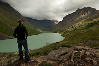 Erek takes in the view above Eagle Lake, Alaska.