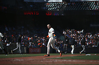 SAN FRANCISCO, CA - JUNE 5: Evan Longoria #10 of the San Francisco Giants argues with an umpire as he walks off the field against the Chicago Cubs during the game at Oracle Park on Saturday, June 5, 2021 in San Francisco, California. (Photo by Brad Mangin)