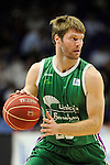 Unicaja´s Jon Stefansson during 2014-15 Liga Endesa match between Real Madrid and Unicaja at Palacio de los Deportes stadium in Madrid, Spain. April 30, 2015. (ALTERPHOTOS/Luis Fernandez)