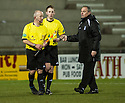 Deveronvale manager Charlie Charlesworth with Referee Paul Robertson at the end of the game ...