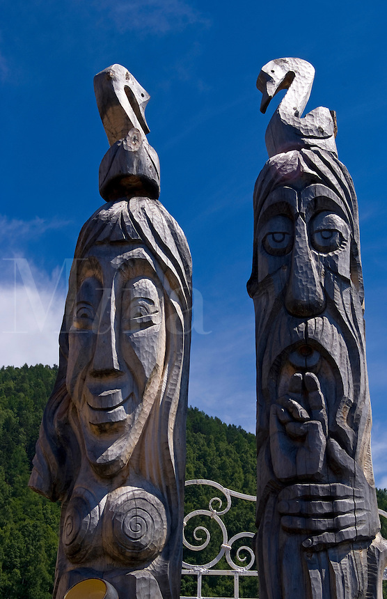 Old Russian traditional artwork totem poles in Listvyanka, Lake Baikal, near Irkutsk, Siberia, Russia