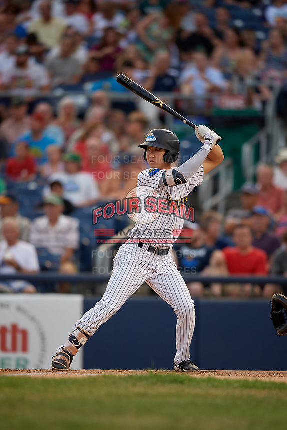 Trenton Thunder Hoy Jun Park (12) bats during an Eastern League game against the New Hampshire Fisher Cats on August 20, 2019 at Arm & Hammer Park in Trenton, New Jersey.  New Hampshire defeated Trenton 7-2.  (Mike Janes/Four Seam Images)