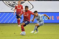KANSAS CITY, KS - SEPTEMBER 02: Thiago Santos #5 of FC Dallas runs with the ball during a game between FC Dallas and Sporting Kansas City at Children's Mercy Park on September 02, 2020 in Kansas City, Kansas.