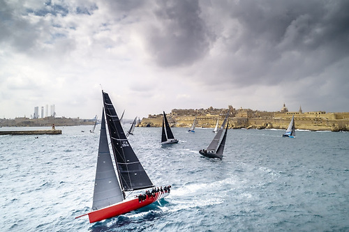 Middle Sea Race competitors emerge from the historic Grand Harbour in Malta's capital Valletta