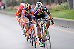 The breakaway group featuring, Carlos Quintero (COL) Colombia, Eduard Grosu (ROU) Nippo-Vini Fantini and Boris Vallée (BEL) Lotto Soudal, during Stage 8 of the 2015 Presidential Tour of Turkey running 124km from Istanbul to Istanbul. 3rd May 2015.<br /> Photo: Tour of Turkey/Mario Stiehl/www.newsfile.ie