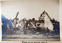 BNPS.co.uk (01202 558833)<br /> Pic: StroudAuctions/BNPS<br /> <br /> Pictured: A soldier walks past ruins<br /> <br /> The poignant sketchbook of a World War One surgeon has been unearthed a century later.<br /> <br /> Captain Theodore Howard Somervell, of the Royal Medical Corps, treated hundreds of wounded Tommies in a field hospital at the Battle of the Somme. <br /> <br /> He was one of just four surgeons working flat-out in a tent, as scores of casualties lay dying on stretchers outside on the bloodiest in British military history.<br /> <br /> There is a sombre pencil sketch of a soldier on the operating table surrounded by a nurse and doctors. Another watercolour shows the bodies of soldiers strewn on a boggy Western Front battlefield.<br /> <br /> Capt Somervell, who was Mentioned In Despatches, drew landmarks including churches which were reduced to rubble in the deadly barrage. He also took rare photos of life on the frontline, including some taken inside an operating theatre. His sketchbook is being sold by a direct descendant with Stroud Auctions, of Gloucs.