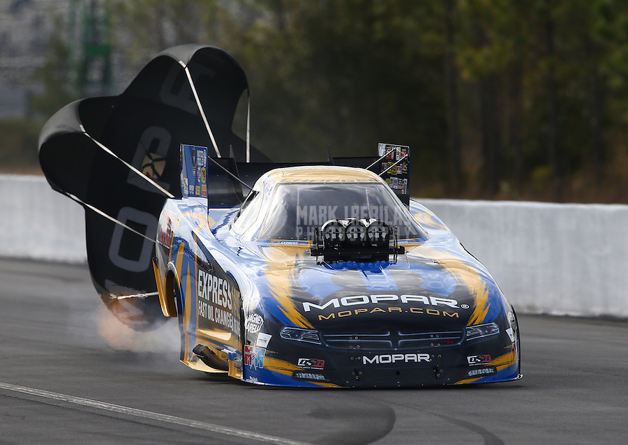 Mar 13, 2015; Gainesville, FL, USA; NHRA funny car driver Matt Hagan during qualifying for the Gatornationals at Auto Plus Raceway at Gainesville. Mandatory Credit: Mark J. Rebilas-