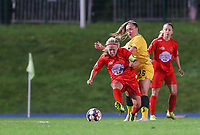 Woluwe's Jana Simons (8) and Standard's Davinia Vanmechelen (25) (at the back) battle for the ball during a female soccer game between FC Femina WS Woluwe and Standard Femina de Liege on the fourth match day of the 2020 - 2021 season of Belgian Womens Super League , Friday 8th of October 2020  in Liege , Belgium . PHOTO SPORTPIX.BE   SPP   SEVIL OKTEM