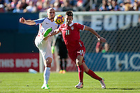 San Diego, CA - Sunday January 29, 2017: Michael Bradley, Marko Gobeljic during an international friendly between the men's national teams of the United States (USA) and Serbia (SRB) at Qualcomm Stadium.