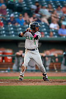 Clinton LumberKings Marcos Rivera (1) during a Midwest League game against the Great Lakes Loons on July 19, 2019 at Dow Diamond in Midland, Michigan.  Clinton defeated Great Lakes 3-2.  (Mike Janes/Four Seam Images)