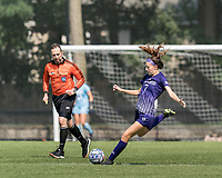 NEWTON, MA - SEPTEMBER 12: Ellie Zern #7 of Holy Cross passes the ball during a game between Holy Cross and Boston College at Newton Campus Soccer Field on September 12, 2021 in Newton, Massachusetts.