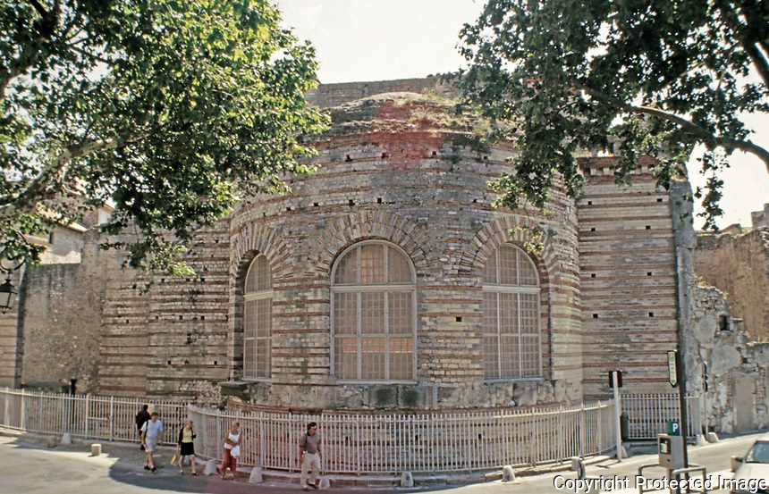 Exterior of the caldarium of the Baths of Constantine, Arles France