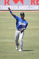 Jorbit Vivas (14) of the Rancho Cucamonga Quakes throws before a game against the Inland Empire 66ers at San Manuel Stadium on May 9, 2021 in San Bernardino, California. (Larry Goren/Four Seam Images)