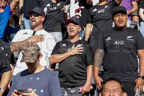 14th November 2020, Sydney, Australia;  Fans during the anthems. Tri Nations rugby union test match,  New Zealand All Blacks versus Argentina Pumas. Bankwest Stadium, Sydney, Australia.
