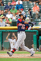 Gabriel Noriega (12) of the Tacoma Rainiers during the game against the Salt Lake Bees in Pacific Coast League action at Smith's Ballpark on July 9, 2014 in Salt Lake City, Utah.  (Stephen Smith/Four Seam Images)